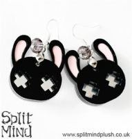 Black Bunny Earings by splitmindplush