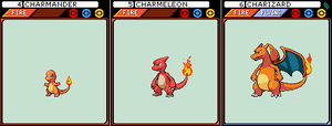 Charmander, Charmeleon and Charizard by JoshR691
