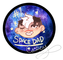 Space Dad Button Design by gh0stbun
