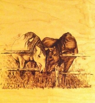 Horses wood burning by lilygirl04
