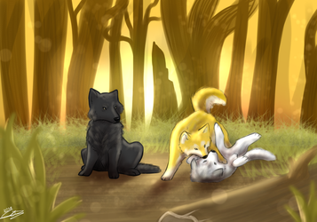 Playing in the woods (gift) by jazzyloveswolves