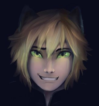 Chat Noir Maskless by Strangerina