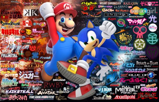 Mario, Sonic and the Otaku Universe  by simpsonsquire