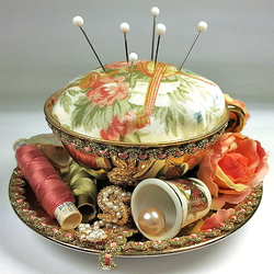 Pincushion in an old cup by Sundry-Art
