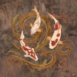 Koi Fish - Marquetry by amazoncanvas