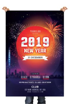 Happy NYE 2019 Free PSD Flyer Template by pixelsdesign-net