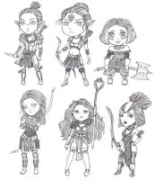 Dragon Age: Origins chibis by Lorrain