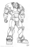 Enclave Remnants Power Armor Redesign Sketch by Sheason