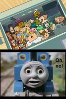 Total Drama Contestants About to Crash into Thomas by MikeJEddyNSGamer89
