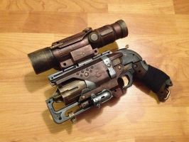 Steampunk Nerf Hammershot pistol with Scope by DrDisco777