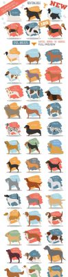 All world DOG BREEDS in one set by Roundicons