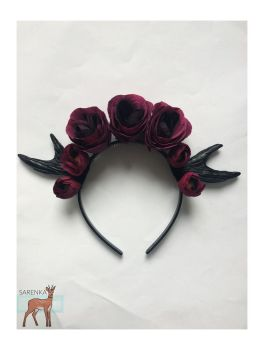 Hairband with horns and flowers by sarenkawaii
