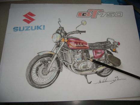 1975 Suzuki GT 750 in coloured pencils with logo by ivantremblac