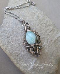 Blue-Green Amazonite with Dark Silver by blackcurrantjewelry