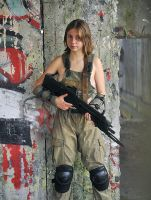 Polina with rifle #3 by ohlopkov