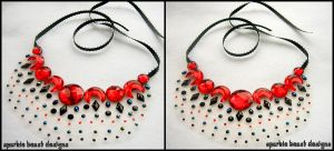 Red and Black Speckle Necklace by Natalie526