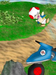 Toad's motorbike accident by kingofthedededes73