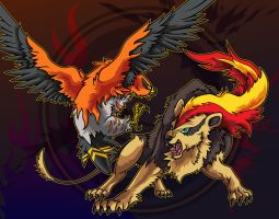 Talonflame and Pyroar