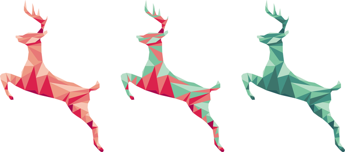 Leaping Stags Polygon Art by peachandguava