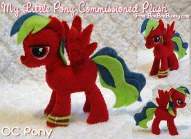 MLP Plush OC Pony - red w green streaked hair by Bon-Bon-Bunny