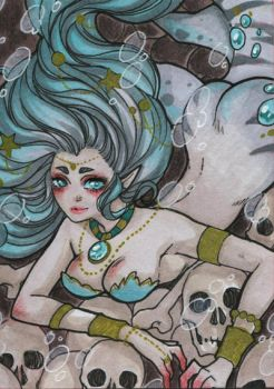 ACEO #35 - Be aware of the shark mermaids by Dar-chan