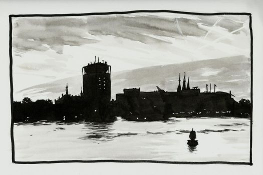 Inktober 2017 Day 22: Amsterdam at night by small-light