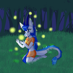 The Dragon and the Fireflies by KendraTheShinyEevee