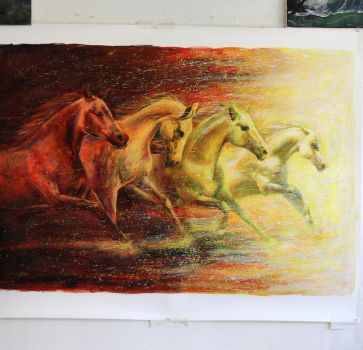 Fire Horses Large Painting  ( Close Up ) by AtomiccircuS