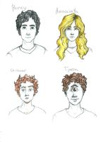 Percy, Annabeth, Grouver and Tyson by Julai2k