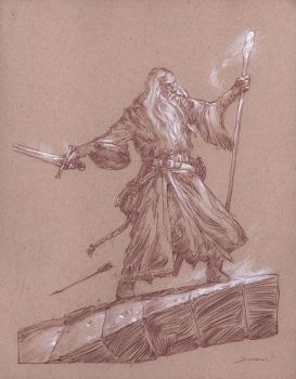 Gandalf on the Bridge of Khazad-dum by DonatoArts