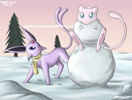 34. Snow - Espeon and Mew by sapphireluna
