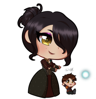 Chibi Morrigan and Kieran by thejaguar9