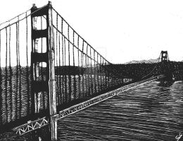 Scratchboard: Golden Gate Bridge by DentistChicken