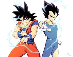 Goku and Vegeta (3) by kakarotoo666
