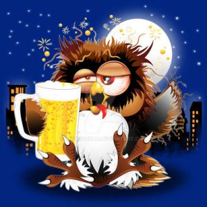 Drunk Owl with Beer Funny Character