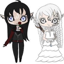 Lucian and Anastasia Chibi by WingedWhiteTiger