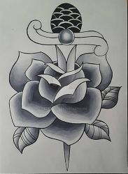 Neo Traditional Rose and Dagger (black and grey) by edi19982