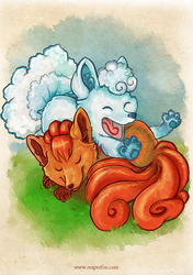 Snugglefoxes by reaperfox