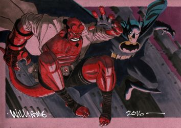 Hellboy and Batman commission by BroHawk