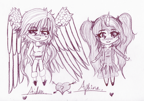 Aiden and Aphina chibis 1 by My-two-lives