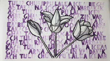 Art Project: Purple Tulip Calligraphy by Ijiserure