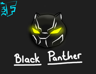 Black Panther Headshot Doodle by FierceFlyer5