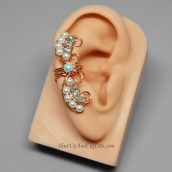 Copper and Glass Pearl Fairy Ear Cuff by Gailavira