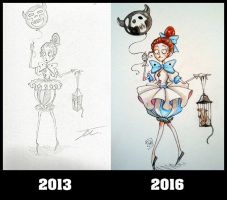 Old drawing VS new drawing ! by NienorGreenfield