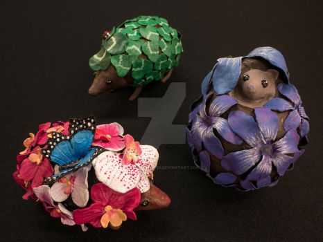 Floral Hedgehogs (for sale) by Jeske-Creates