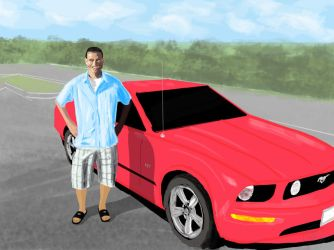 Cousin Donald With His Mustang by OLDDOGG