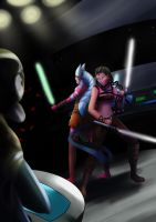 Shaak Ti and Maris Brood vs Admiral Trench by lordhadrian