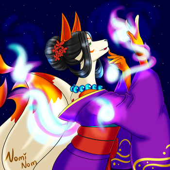 Inari and her Foxfire by JuiceBoxBunny