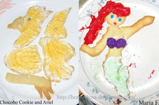 Chocobo and Ariel Cookies by HorseElena