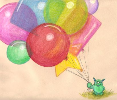 Monster with balloons by Myrcury-Art